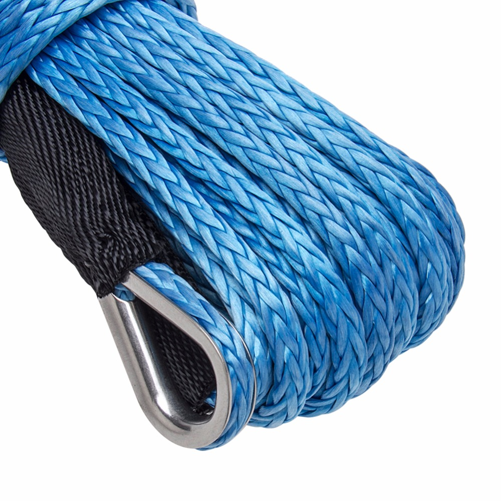 CARBOLE 1/4 x 50 Synthetic Winch Rope Line Cable 8200 LB Capacity ATV UTV W/Sheath 6mm Blue