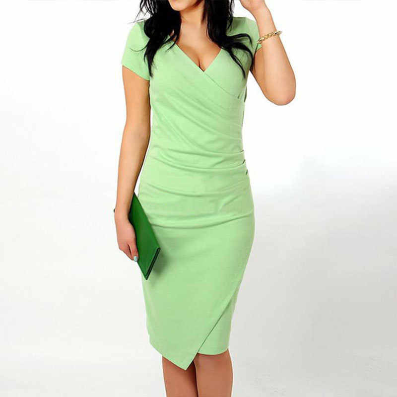b80698237f04 Plus Size 2019 Summer Dress Sexy Casual V-Neck Bodycon Candy Colors Slim  Asymmetrical Party