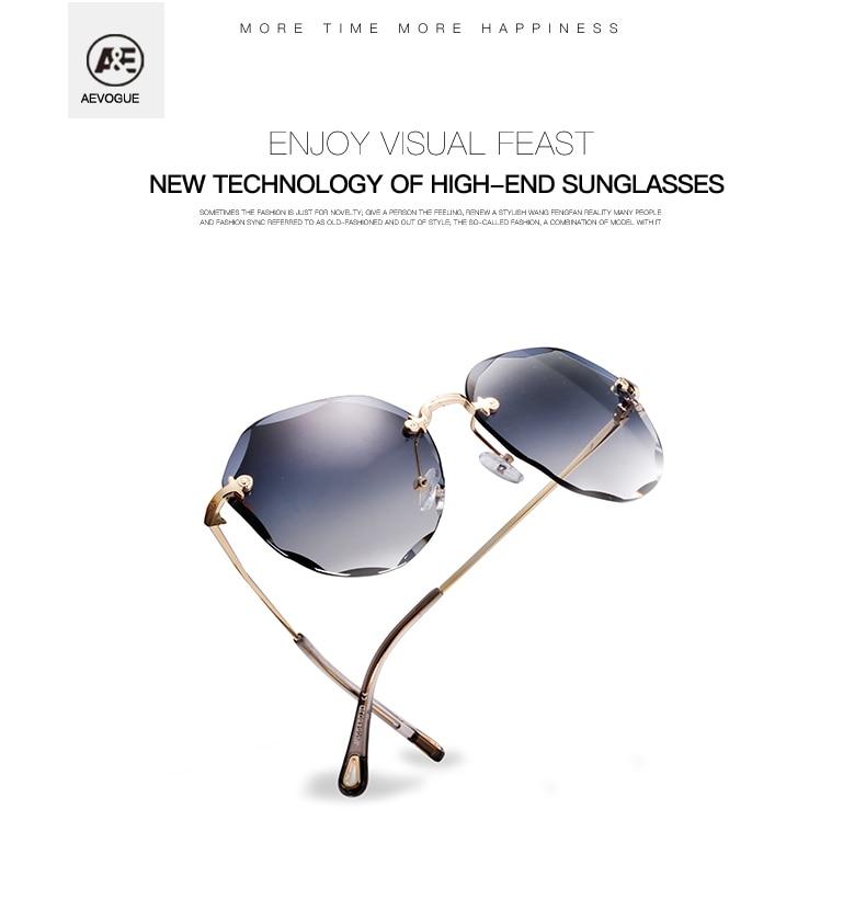 HTB1 7rBKMHqK1RjSZFPq6AwapXaH AEVOGUE Sunglasses For Women ladies Rimless Diamond cutting Lens Brand Designer Ocean Shades Vintage Sun Glasses AE0637