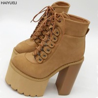 Boots Female Spring Woman Thick High Heeled Boots Fashion Lace Up Platform Ankle Boots Punk Black