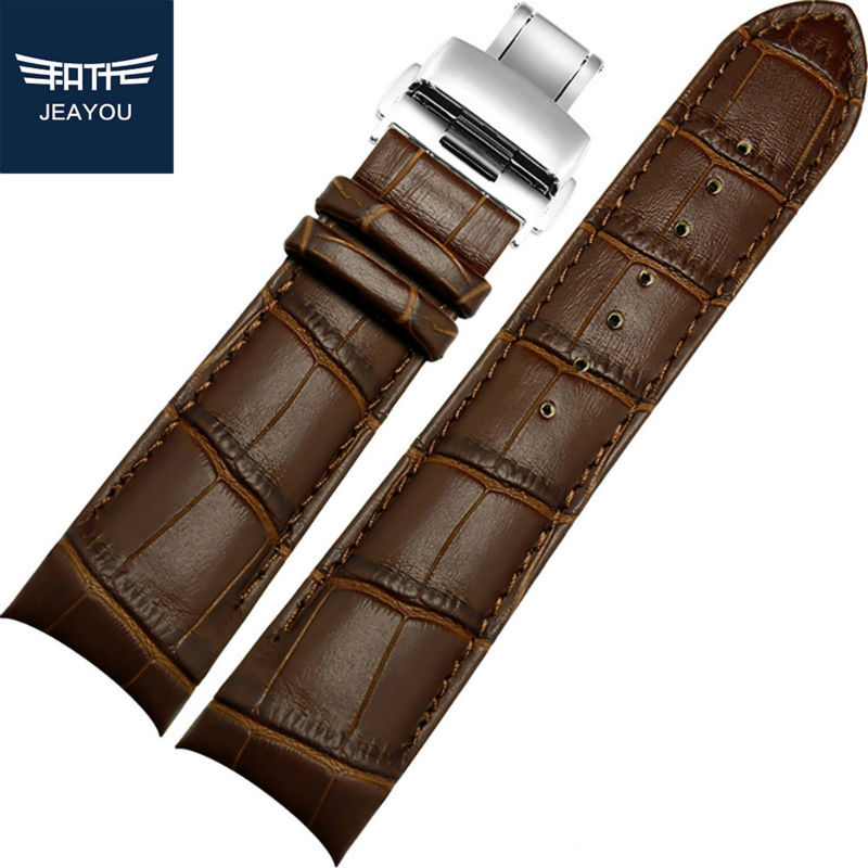 ФОТО JEAYOU Men Genuine Leather High Quality Watch Strap Only For Tissot  T035 24mm 23mm 22mm 18mm