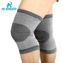 Albreda 2 предмета дышащий наколенники упругой углерода Волокно колена Поддержка протектор открытый Спортивная безопасность штанины наколенники pad