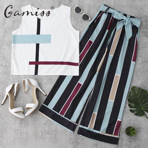 Gamiss Casual Women Summer Striped Long Pants Suit