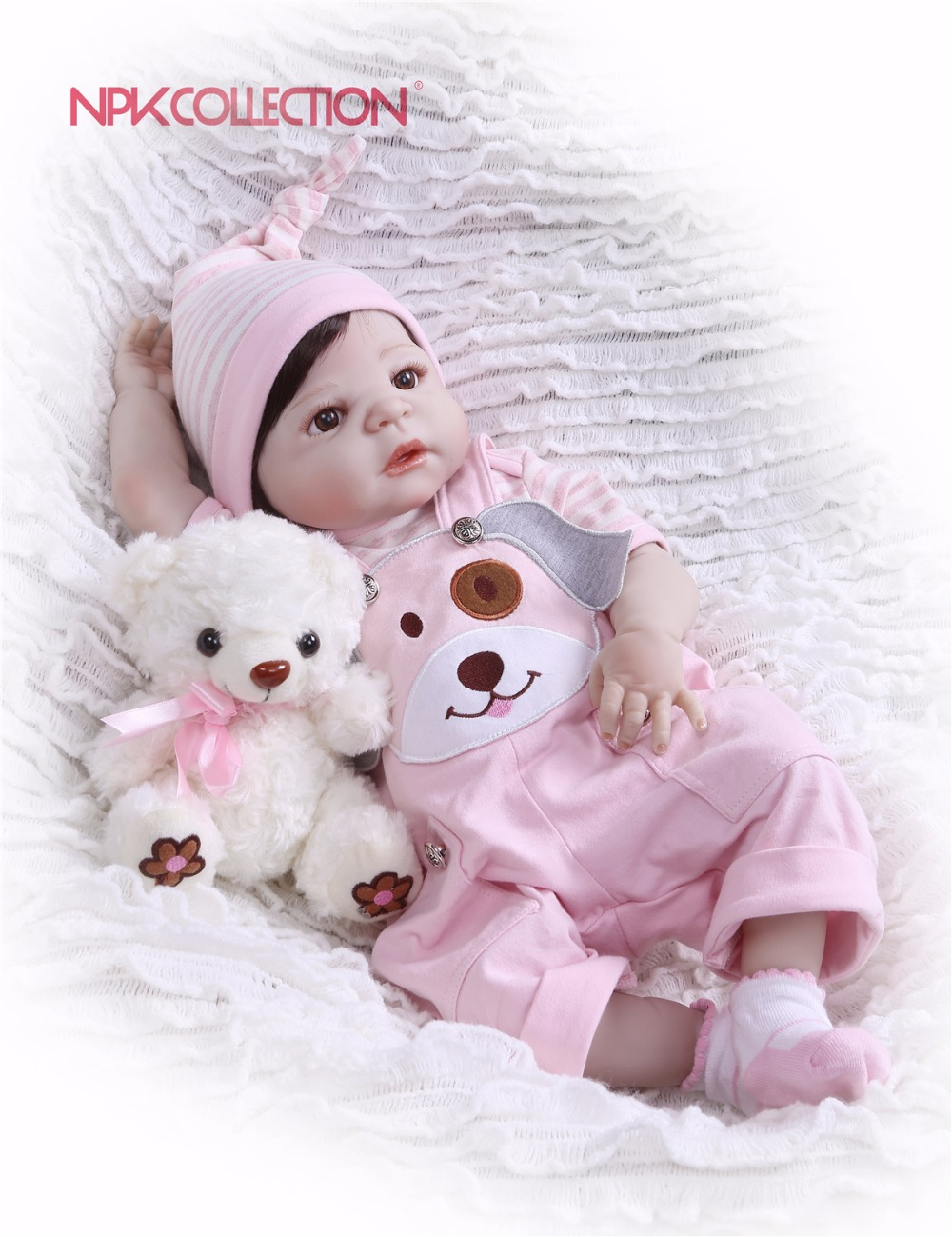 NPKCOLLECTION New Arrival pink Baby Doll Full Silicone Body Lifelike Bebe Reborn Princess Girl Doll Handmade Baby Toy Kids Gifts new arrival 23 57cm baby girl doll full silicone body lifelike bebe reborn bonecas handmade baby toy for kids christmas gifts