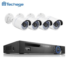 Techage 15V/48V 4CH 1080P NVR Record POE CCTV System P2P Night Vision 4PCS 2MP Outdoor IP Camera Plug and Play Security Kit HDD