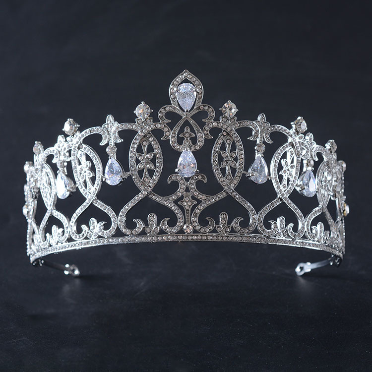 Luxo Impressionante Cubic Zircon Crown Pageant Tiara Do Casamento De Noiva CZ Cristal Rhinestone Diadema Real da Coroa Do Partido tiara de noiva