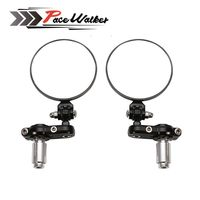 FREE SHIPPING PACEWALKER MOTORCYCLE BIKE 3 ROUND 7 8 HANDLE BAR END MIRRORS REARVIEW SIDE MIRROR