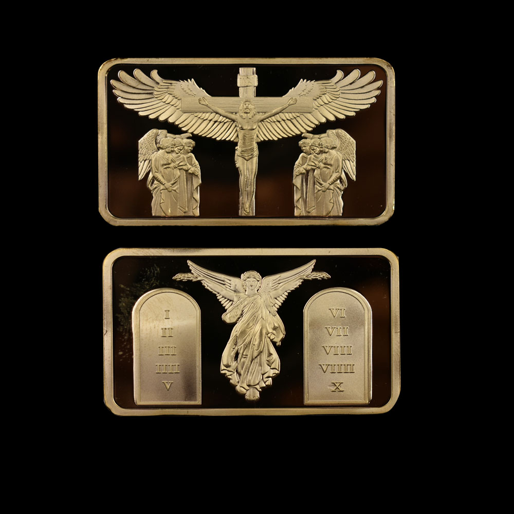 Commemorative Coin Jesus Resurrection Cross Christian Faith Commemorative Coin Gold plated Collection Lucky Medal 2 Pieces Set in Non currency Coins from Home Garden