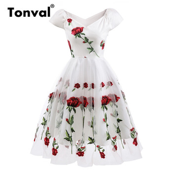 Tonval Rose Flower Embroidery V neck Elegant Dress Pleated Mesh Overlay Floral White Dresses Women Vintage Style Party - discount item  43% OFF Dresses