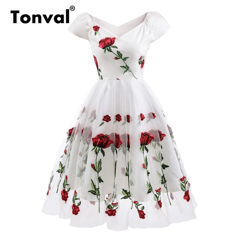 Tonval Rose Flower Embroidery V neck Elegant Dress Mesh Overlay Floral White Dresses Women Vintage Style Party Dress