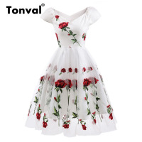 Tonval Rose Flower Embroidery V neck Elegant Dress Mesh Overlay Floral White Dresses Women Vintage Style Party Dress