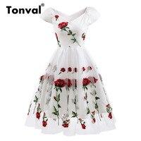 Tonval Rose Flower Embroidery V neck Sexy Dress Elegant Mesh Floral White Dresses Women Vintage Party Dress