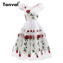 Tonval עלה פרח רקמת V צוואר אלגנטי שמלת קפלים רשת כיסוי פרחוני לבן שמלות נשים Vintage סגנון המפלגה שמלה