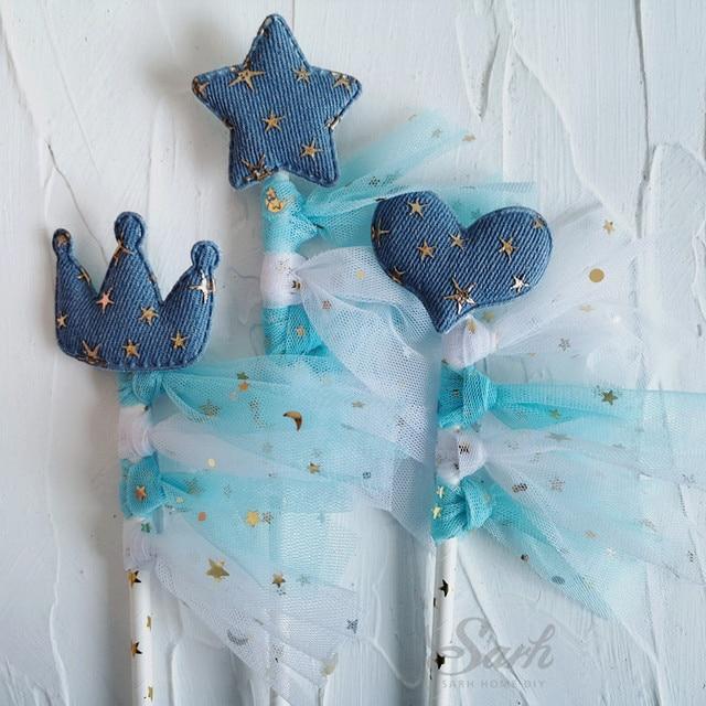 Fil couronne avec étoiles et cœur bleu or | Garniture de gâteau avec