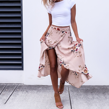 Vintage asymmetrical high waist elegant long skirts