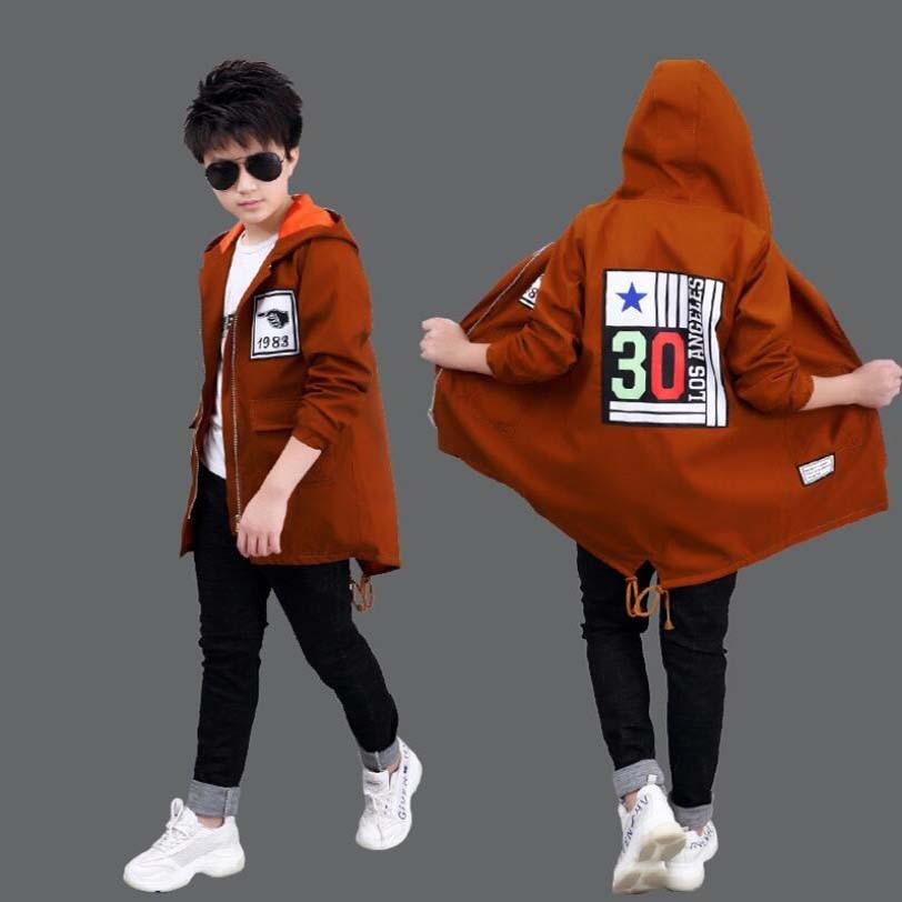 Весенне осенняя Повседневная куртка для мальчиков детская ветровка с капюшоном и буквенным принтом, спортивная одежда для мальчиков подростков, От 5 до 13 лет