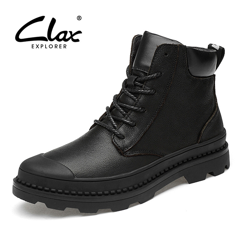 CLAX Men Motorcycle Boots Genuine Leather 2019 Spring Autumn Casual Shoe Male High Top Mens Boot Designer Big Size
