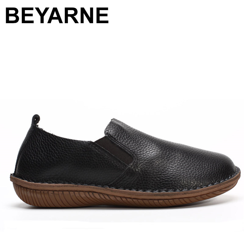 BEYARNE Women's Shoes Genuine Leather Womens Flat Shoes Round toe Slip on Moccasins Shoes Black and White Spring Footwear beyarne spring summer women moccasins slip on women flats vintage shoes large size womens shoes flat pointed toe ladies shoes