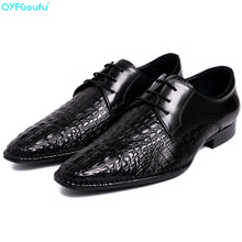 New Arrivals Men Business Dress Shoes Genuine Leather Pointy Gentleman Formal Crocodile Pattern