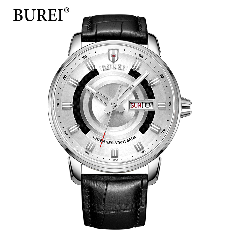 BUREI Men Mechanical Watch Calendar Automatic Genuine Leather Strap Fashion Casual Male Luminous Clcok Waterproof Wristwatches