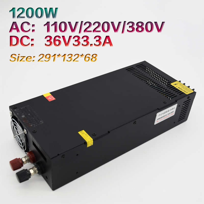 High power 1200W36V switching power supply 33.3A S-1200-36 DC motor engraving machine power supplyHigh power 1200W36V switching power supply 33.3A S-1200-36 DC motor engraving machine power supply