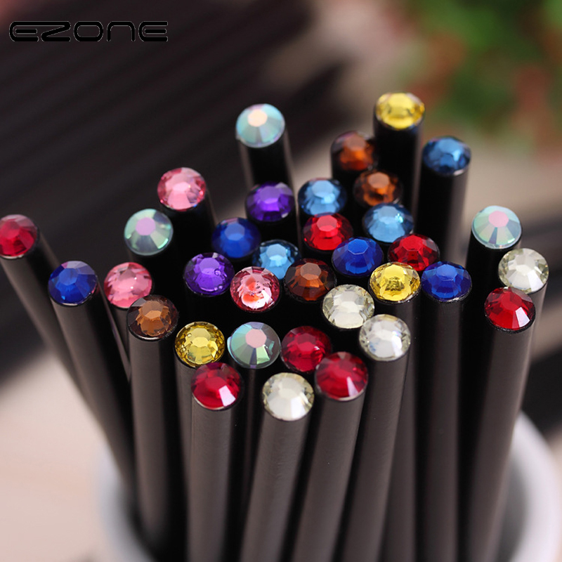 EZONE 12 PCS Simple Style Pencil Cute Kawaii Wooden Black Rod HB Pencil With Colorful Diamond School Writing Students Stationery