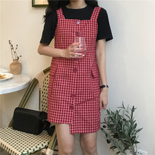 EAD Vintage Women Plaid Dress Office Lady Sleeveless Summer Spaghetti Strap Sexy Dresses Button Casual Female Straight Vestido