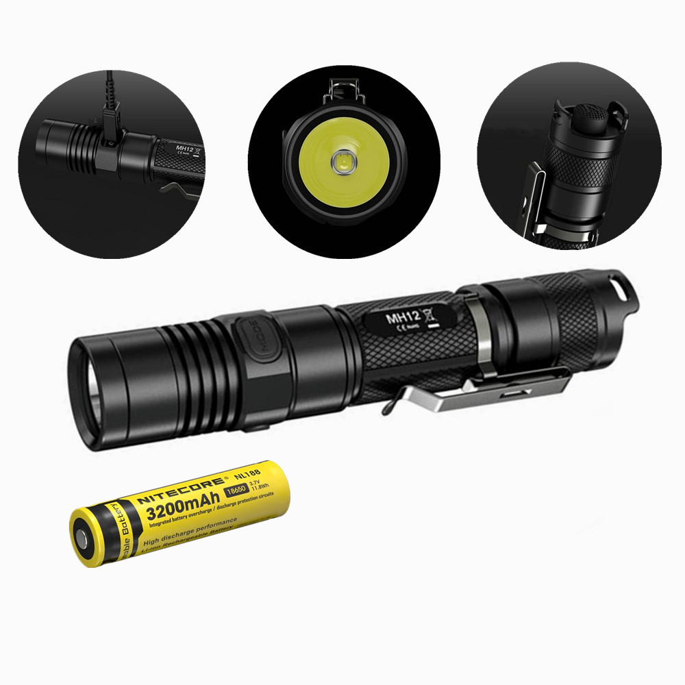 Nitecore MH12 MH12W rechargable flashlight 1000 lumens XM-L2 U2 LED waterproof with Nitecore 3200mah rechargeable battery nitecore mh20 with 3200mah battery 1000 lumens cree xm l2 u2 led rechargeable mini flashlight waterproof led torch free shipping
