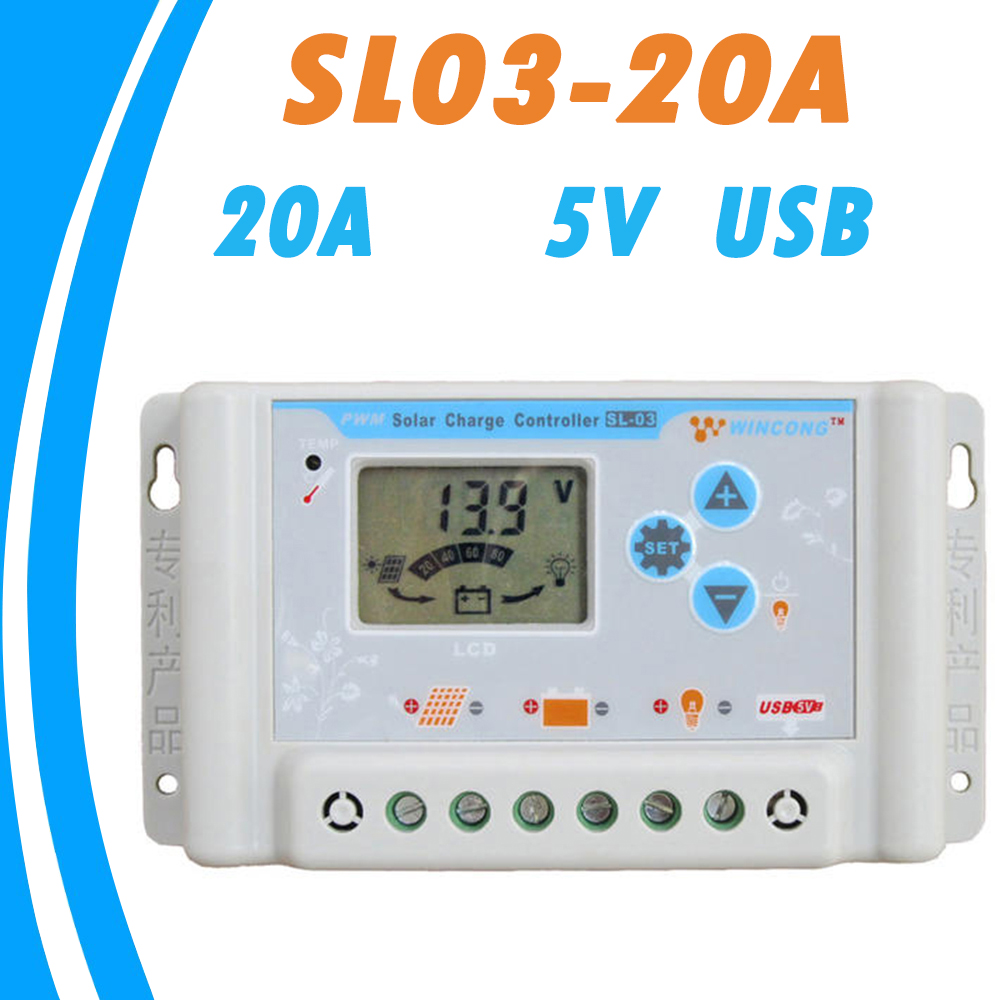 12V Solar Charge Controller 20A 24V PWM Panel Battery Regulator LCD with USB 5V and All Parameters Can Be Showed and Settable 10a 20a 30a lcd pwm solar panel charge controller battery regulator 12v 24v with dual usb