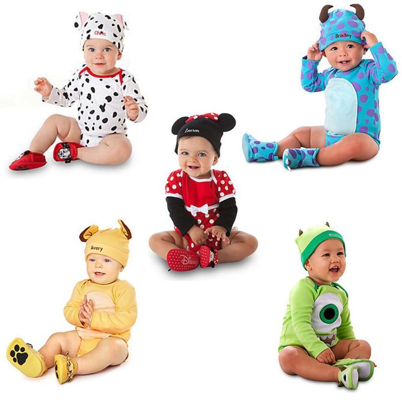 Babybyxor + Hattdragning Höstkillar Tjejer Minnie Karaktärkläder Ställer nyfödda barnkläder Roupa Bebes Kläder Barnbyxor