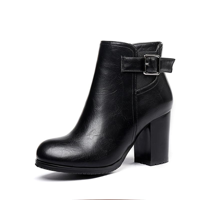 Femme Noir Bottes Talon Ymechic Noir Taille vert Chaussures Talons Brun Bloc Hauts Hiver À 2018 Femmes Vert La Boucle Bootie Plus marron A4Rj5L