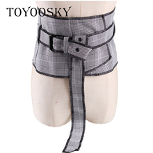 2018 New Arrival Plaid Canvas Women Belts Fashion Striped Wide for Blouse Dress High Quality Female TOYOOSKY