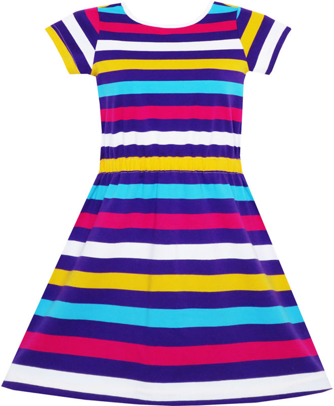 Girls Dress Colorful Striped Knitted Cotton Stretch School Sundress 2017 Summer Princess Wedding Party Dresses Clothes Size 4-10 simfer f66gl42001