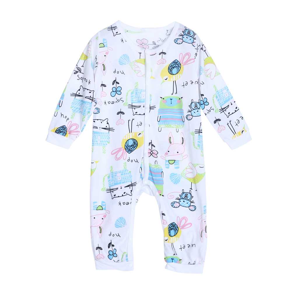 New Arrival Infant Toddler Kids Baby Boys Girls Lovely Cartoon Rompers Spring Autumn Long Sleeve Print Clothes Outfits 0-18M infant toddler baby kids boys girls pocket jumpsuit long sleeve rompers hats kids warm outfits set 0 24m