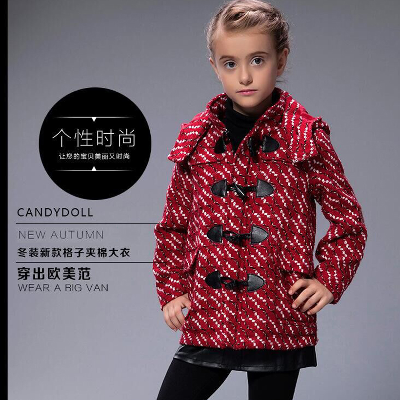 ФОТО Girl Wool Coat Red Grid Kids Outerwear Winter Girl Trench Coat Jacket Princess Woolen Coat Girl Manteau Fille