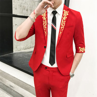 Half Sleeve Costume Homme Slim Fit Suits for Men 2 Piece Mens Suit With Pants Tweed Embroidery Designer Tuxedo Retro Mariage Red
