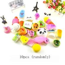 10pcs/pack kawaii squishy Slow Rising cartoon squeeze toys mini food bread squishy Antistress Vent Toy fun gifts key pendant
