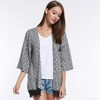 נשים קצרה אדרת עם טאסל Loose חולצות אביב קיץ שרוול ארוך חוף קרם הגנה מעיל קרדיגן קימונו יפני C