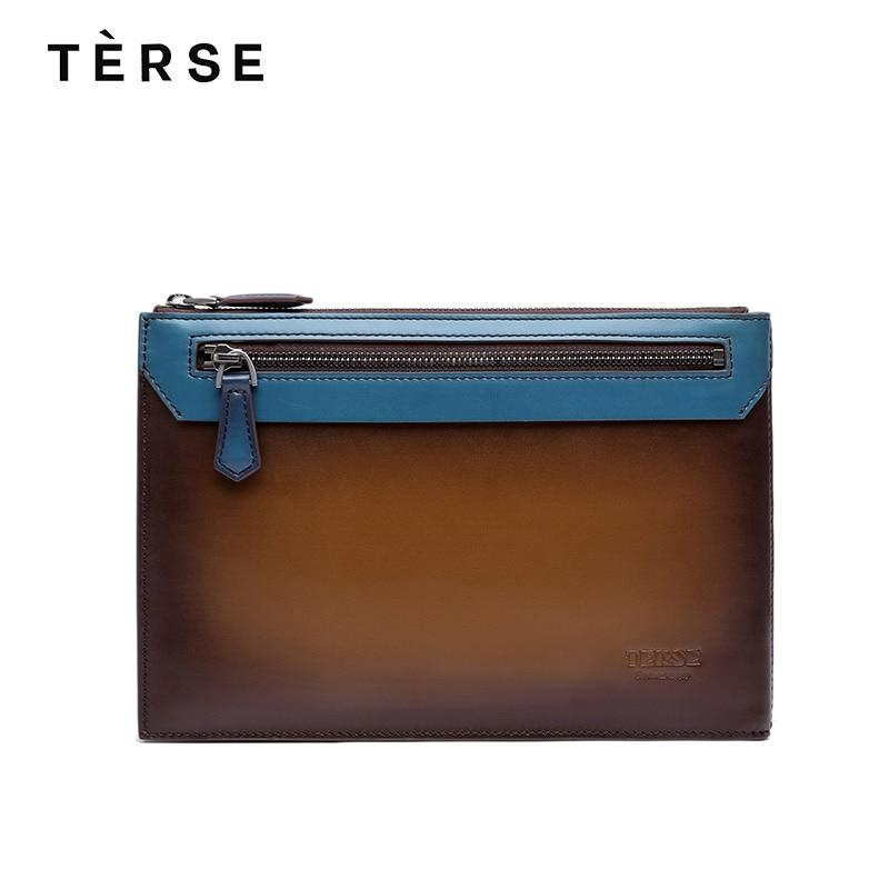 TERSE 2018 남성 핸드 메이드 정품 가죽 가방 담배 색상 - 핸드백
