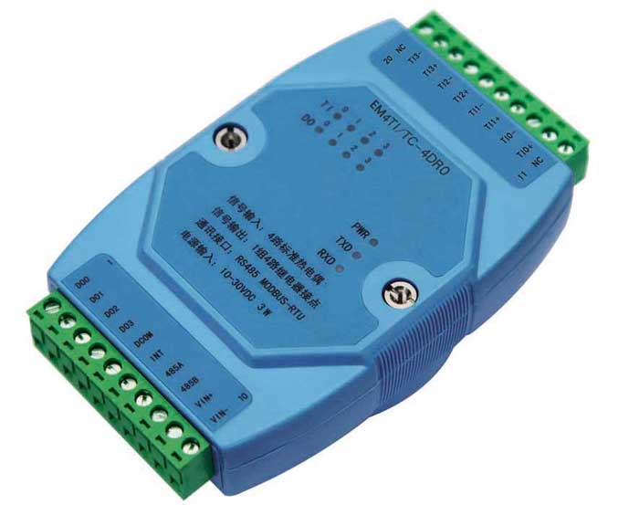 Thermocouple module temperature acquisition RS485 type J/K/T/E/R/S/B communication 4 way temperature sensor
