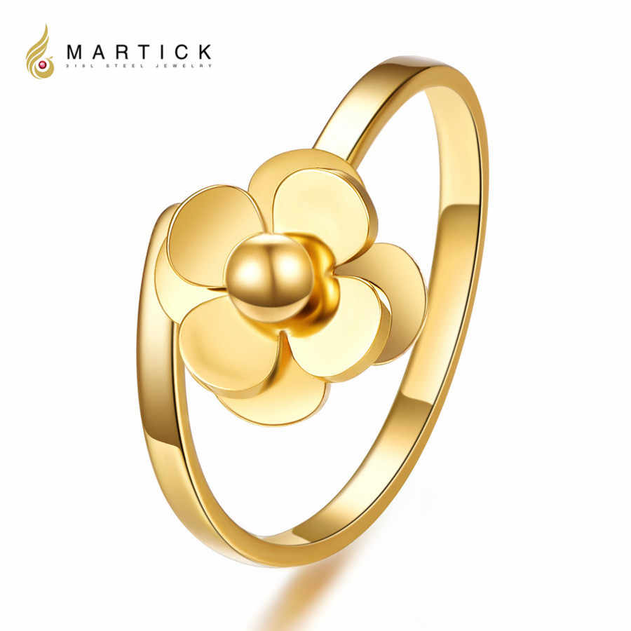 Martick Spring Style Ring 316L Stainless Steel Satellite Flowers Shape Open Rings For Woman Fashion Finger Jewelry R54