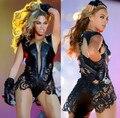 Beyonce Dança Traje de Uma Peça Cantora Roupas de Dança Sexy Lace Patchwork Couro Tampa Garfo Desempenho
