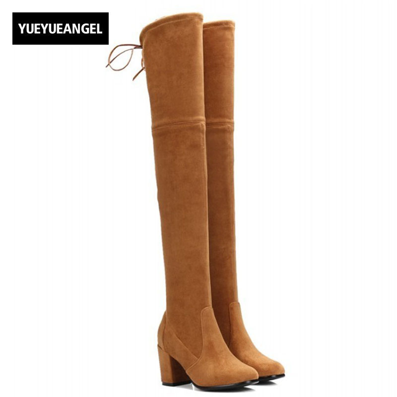 Winter New Retro Over The Knee High Boots Block Heel Real Sheepskin Suede Slim Fit Womens Shoes Sexy Soft Slip On Knight Boots