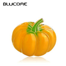 Blucome Yellow Pumpkin Vegetables Shape Brooches Enamel Gold Color Pins Women Kids Men Accessories Suit Lapel Pins Badge Gifts(China)