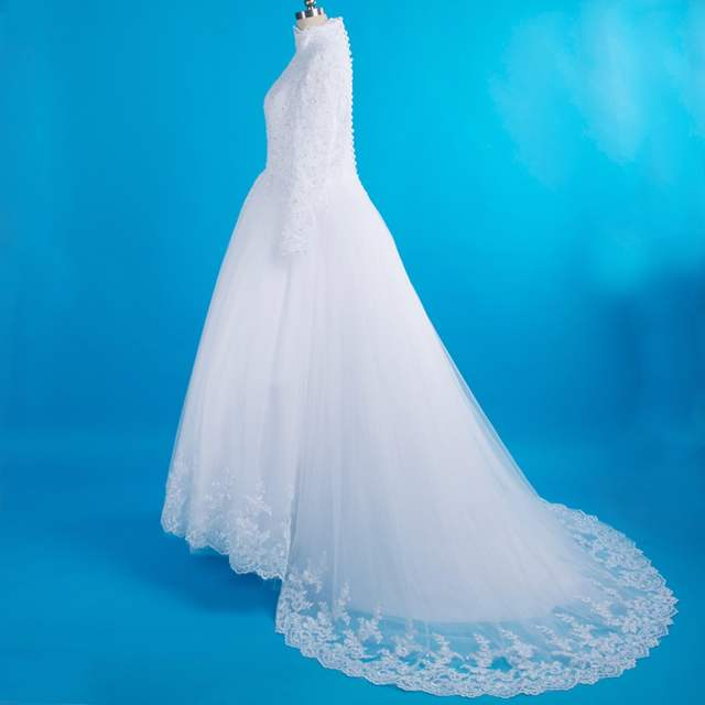 Real Photos Long Sleeve Veil Hijab Muslim Arabic Turkish Wedding