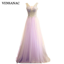 VENSANAC 2018 V Neck Sequined Long A Line Evening Dresses Elegant Crystals Lace Backless Tulle Party Prom Gowns