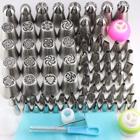 Mujiang 81Pcs Stainless Steel Russian Nozzles Icing Piping Pastry Tips Cake Decorating Tools 2Pcs Silicone Bag 4 Coupler 1 Brush