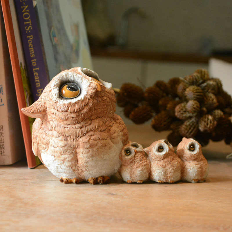 Cute Owl Creative Decoration Resin Animal Sculpture Garden Park Home Living Room Simulation Ornaments Micro Landscape Gift