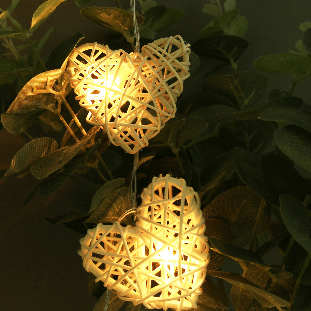Fairy Christmas led string light 1.1M 10Leds Battery powered Rattan Heart Home decoration for Xmas,New Year,Wedding,Birthday
