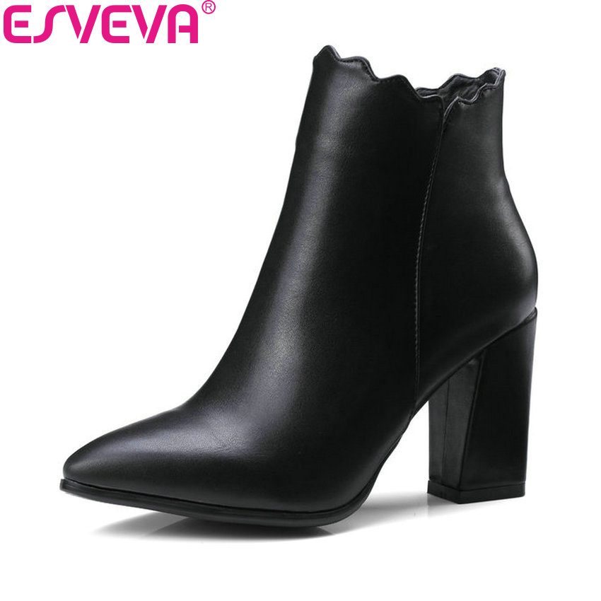 ESVEVA 2018 Sexy Zipper Women Boots Synthetic Ankle Boots PU Leather Spring and Autumn Black Pointed Toe Women Shoes Size 34-43 esveva 2018 women boots zippers black short plush pu lining pointed toe square high heels ankle boots ladies shoes size 34 39